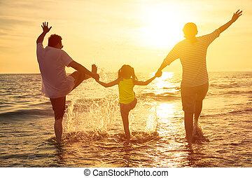 喜欢, 夏天, 家庭假期, 海滩, 开心