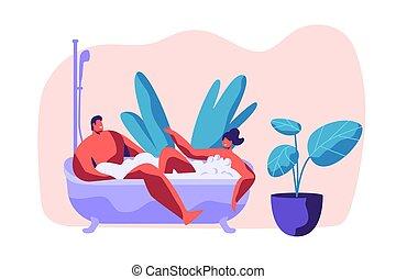 喜欢, 洗澡, 人类, 家, spa, 情人, 年轻, day., time., 拿, 气泡, 开心, 套间, 妇女, 夫妇, 描述, 二, 松弛, bathroom., 卡通漫画, 人, 浪漫, 一起, 矢量, 浴缸