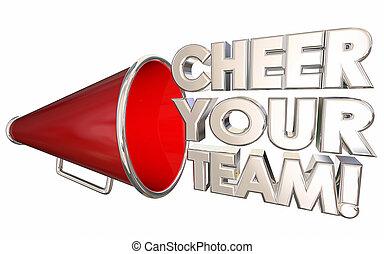 喝采, あなたの, チーム, 動機を与えなさい, 励ましなさい, bullhorn, メガホン, 3d, イラスト