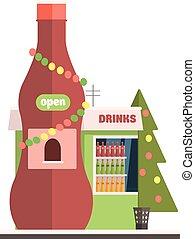 喝, 商店前面, 在, 圣誕節。, 矢量, 插圖