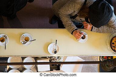喝, 妇女, 浓咖啡, 咖啡, 意大利语