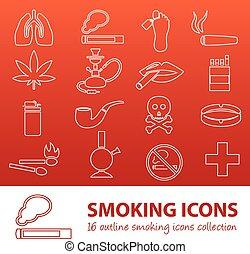 喫煙, アウトライン, アイコン