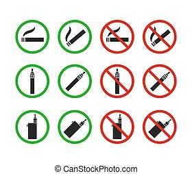 喫煙, セット, いいえ, サイン