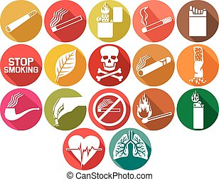 喫煙, セット, 平ら, アイコン