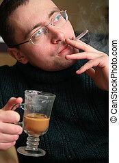 喫煙, 人, ∥で∥, ガラス