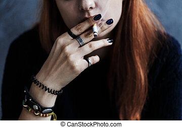 喫煙, 女の子, タバコ