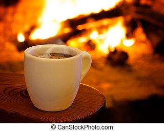 喫煙, 暑い, 暖炉, コーヒー