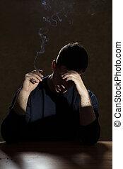 喫煙, 絶望, 人, タバコ