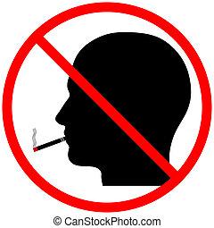 喫煙, 頭, シルエット, いいえ