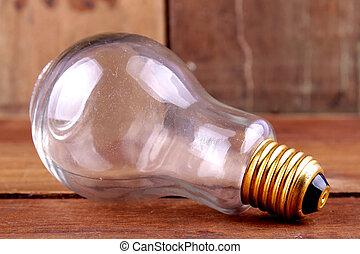 單個的對象, 燈泡, 上, the, 木制, 背景