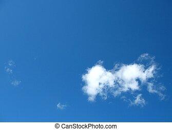 單個, 小, 雲, 在, 藍色的天空