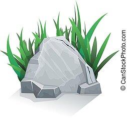 單個, 石頭, 由于, 草