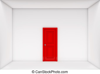 單個, 紅的門, 關閉, 在懷特上, 箱子