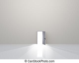 單個, 門, 在, 純淨, 白的空間, emaits, 光