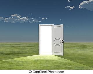 單個, 門, emits, 光, 在, 空, 風景