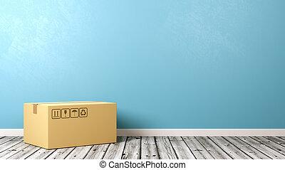 單個, 關閉, 厚紙箱, 上, 木製的地板