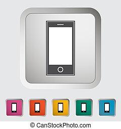 單個, smartphone, icon.