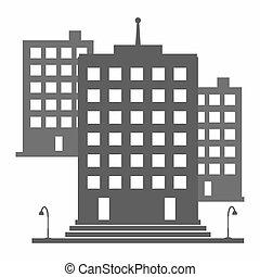 單色, 建築物, 上, a, 白色 背景