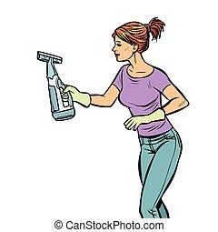 喷雾器, 妇女, 洗涤, 打扫