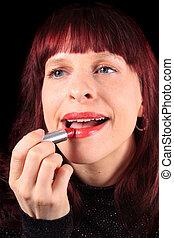 嘴唇, 甘美, 运用lipstick