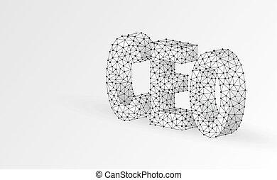 噛み合いなさい, 経営者, poly, origami, 点, headship, 抽象的, モニター, concept...