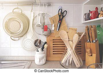 器具, 烹调, 各种各样, 厨房, 角落