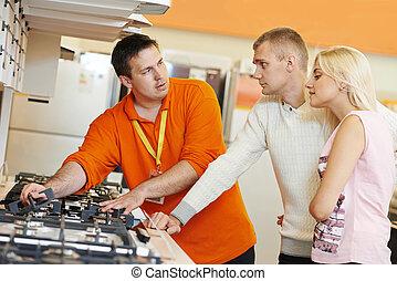 器具, 買い物, スーパーマーケット, 家 家族