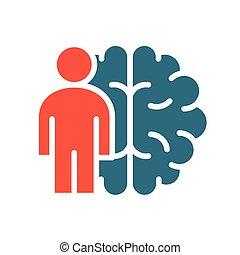 器官, 有色人種, 神経系, 人男, シンボル, 中央である, 脳, 本, icon.