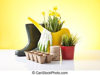 噴壺, 以及, 花園工具