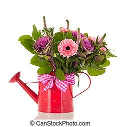 噴壺, 由于, 花束, 花