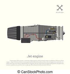 噴气式發動机, 在, a, 套間, style., 分開, the, 飛机