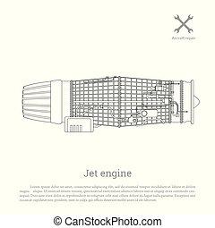 噴气式發動机, 在, a, outline, style., 分開, the, aircraft., 側視圖
