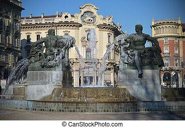 噴水, トゥーリン, solferino, イタリア, 広場