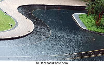 噴水, プール, そして, 通り道