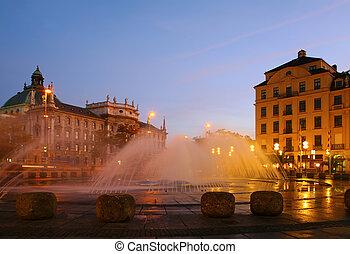 噴水, 上に, 広場, 中に, evening., ミュンヘン