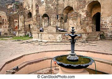 噴水, 中に, golkonda, 城砦