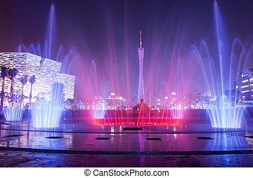 噴水, 中に, guangzhou, 花, 都市, プラザ