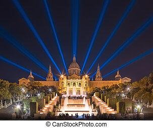 噴水, 光景, マジック, バルセロナ, 夜