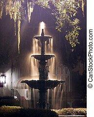 噴水, 夜