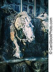 噴水, bartholdi, ライオン, 馬