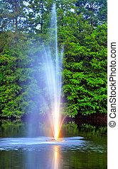 噴泉, 在, a, 湖