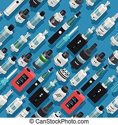 噴霧器, seamless, タバコ, ベクトル, 背景, vaping, 電子