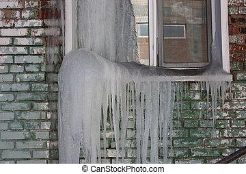 嚴厲, 冬天, concept., 窗口