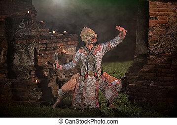 嚴格地, khon, 跳舞, (hanuman)