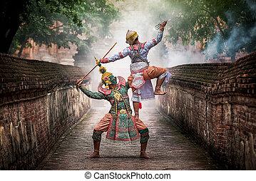 嚴格地, khon, 跳舞, (ramayana