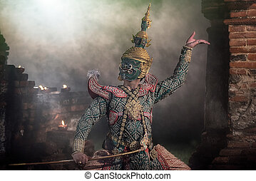 嚴格地, khon, 跳舞, (thotsakan)