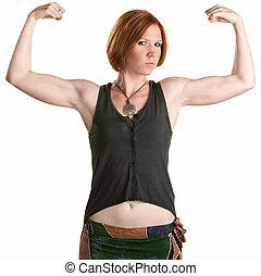 嚴肅, 婦女, 屈曲肌肉