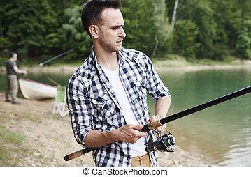 嚴肅, fish, 人, 抓住, 湖