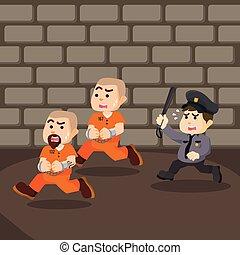 囚人, 逃げる, デザイン, イラスト, 刑務所