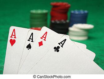 四个一流人才, 带, 赌博芯片, 结束, 绿色感到